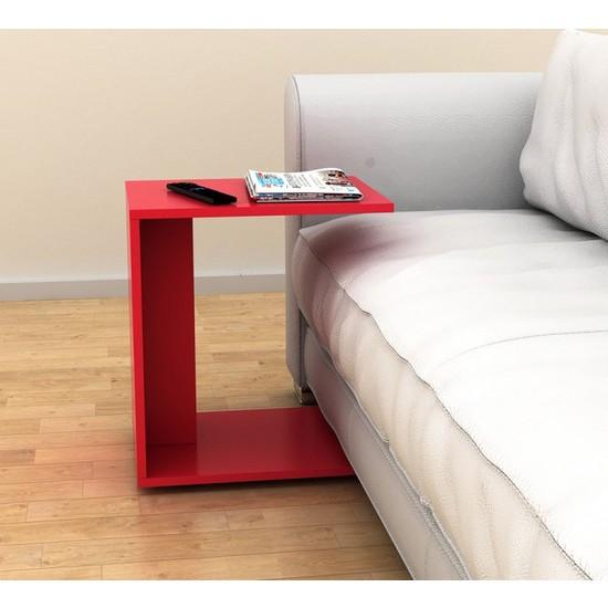 Adore Çok Amaçlı Tekerlekli C Koltuk Sehpası - Parlak Kırmızı
