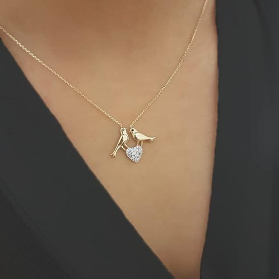 Allegro Gold 14 Ayar Altın Kalpli Kuş Kolye ALK0321