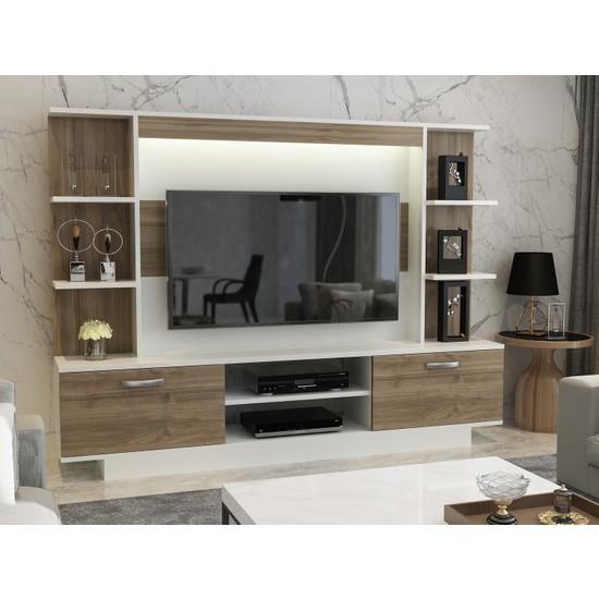 Arnetti Light Tv Ünitesi Beyaz Ceviz