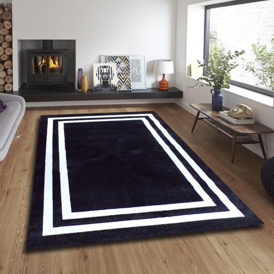 Balat Halı Dekoratif Çerçeveli Polipropilen Oturma Odası ve Salon Halısı Siyah-Beyaz