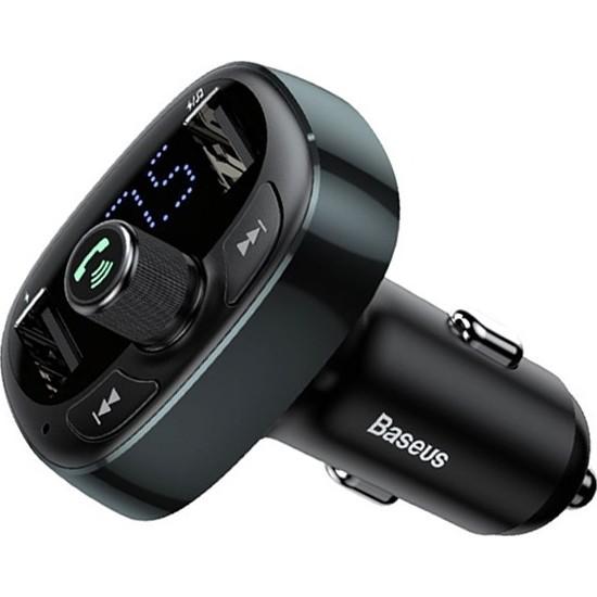Baseus T Typed S-09 Bluetooth Fm Transmitter Çift Araç Şarj Aleti CALL-TM0A