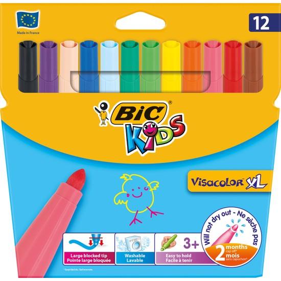Bic Kids Visa Color XL Yıkanabilir Keçeli Boya Kalemi 12 Renk