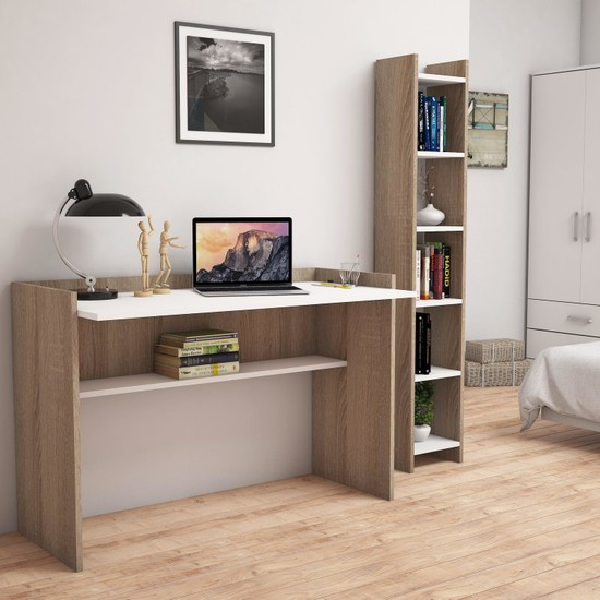 Bimossa T6020 Gülbahar Kitaplık ve Çalışma Masası Ceviz/Beyaz