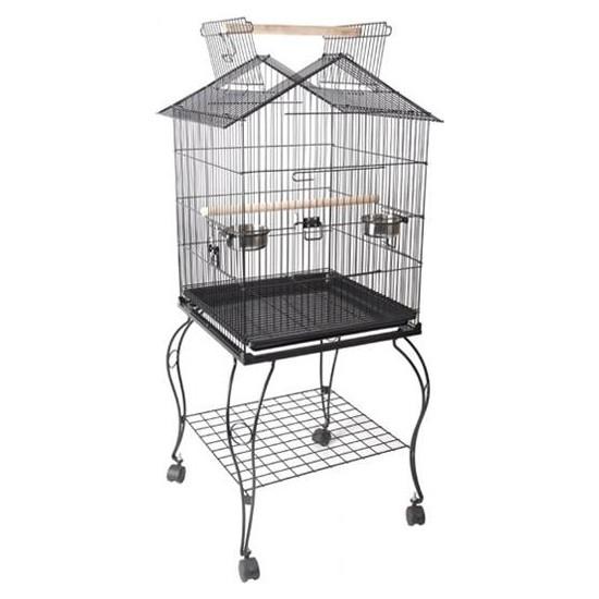 Bird Life H03 Sehpalı Papağan Kafesi Dövme Demir Siyah 51X51X127 cm
