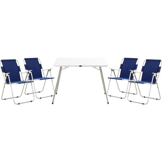 Byeren Piknik Seti - 4 Adet Ağaç Kollu Kamp Sandalyesi Lacivert + 60 x 80 cm Granit Masa Beyaz