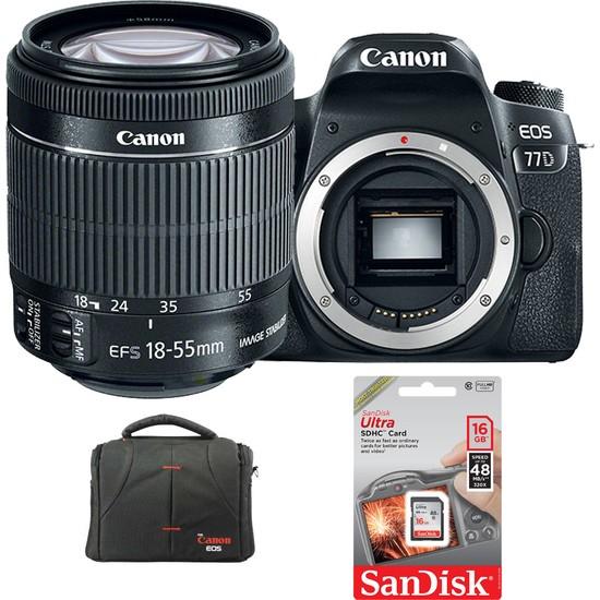 Canon EOS 77D + 18-55mm Lens + Hafıza Kartı + Çanta