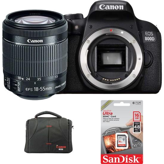 Canon EOS 800D + 18-55mm Lens + Hafıza Kartı + Çanta