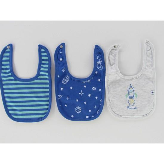 Caramell %100 Pamuk Uzay Temalı Çıtçıtlı 3'lü Bebek Önlük