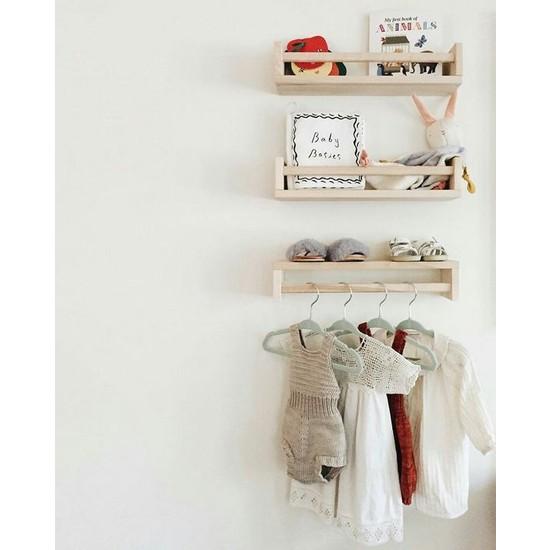Ceebebek Ahşap Raf Üçlü Bebek Odası Askı Duvar Kitaplık 40 Cm