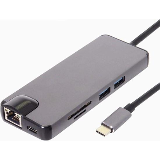 Daytona Type-C™ to 4K Ultra HD HDMI Type-C Sd Kart 2*USB 3.0 Gigabit Ethernet VGA 8 In 1 Çevirici Adaptör
