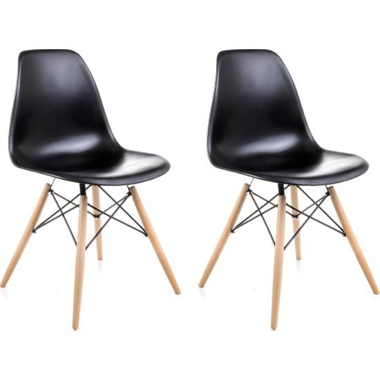 Dorcia Home Siyah Eames Sandalye 2 Adet Cafe Balkon Mutfak Sandalyesi