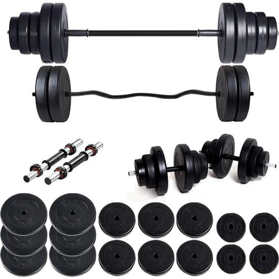 Ecgspor 108 kg Z Bar Halter Seti ve Dambıl Seti Ağırlık Fitness Seti