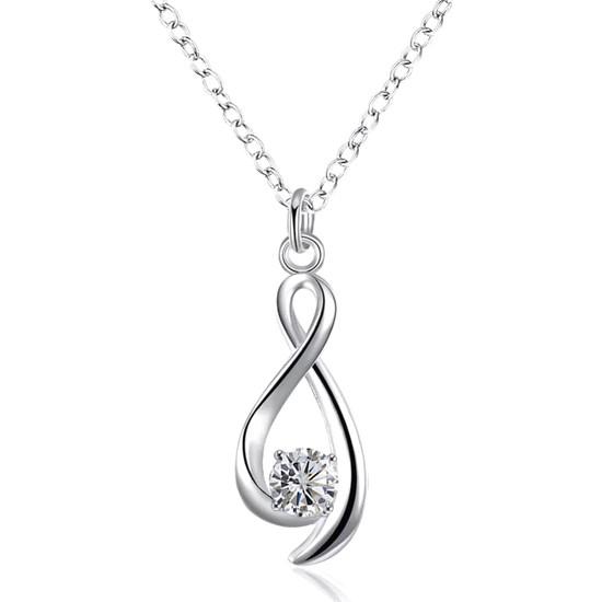 Enes Store Gümüş Zirkon Taşlı Sonsuzluk Bayan Kolyesi