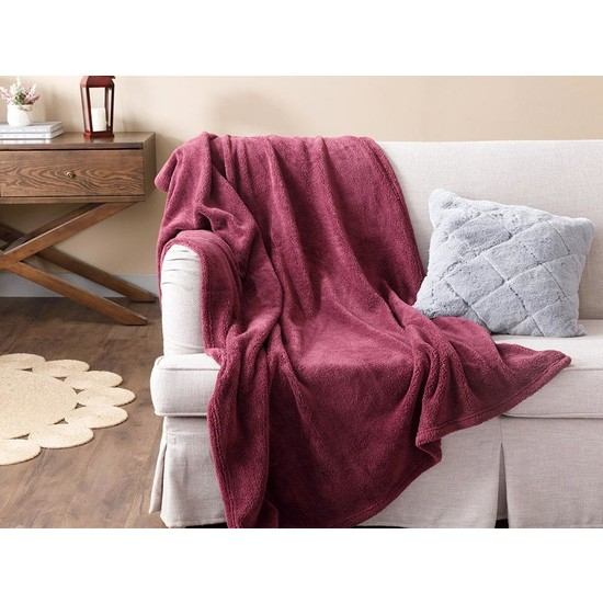 English Home Softy Wellsoft Tv Battaniye 120 x 170 cm Mürdüm