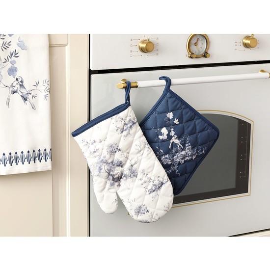 English Home Tual 2'li Mutfak Seti 20x20 - 19x30 Cm Beyaz - Mavi
