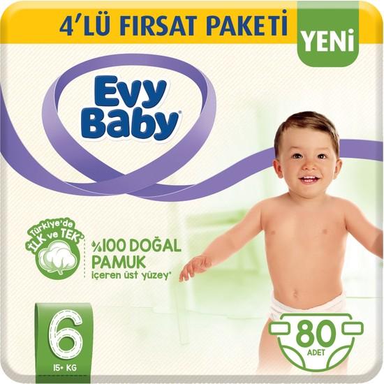 Evy Baby Bebek Bezi 6 Beden Ekstra Large 4'lü Fırsat Paketi 80 Adet