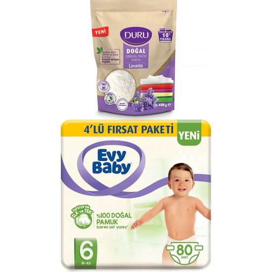Evy Baby Bebek Bezi 6 Beden Xl 4'lü Fırsat 80'li Granül Sabun 400 gr