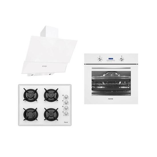 Ferre Italiano White 3'Lü Ankastre Set ( BE6 LD Multifonksiyon Beyaz Fırın +1140 CE Beyaz Cam Ocak+ D004 Yatay Beyaz Cam Davlumbaz)