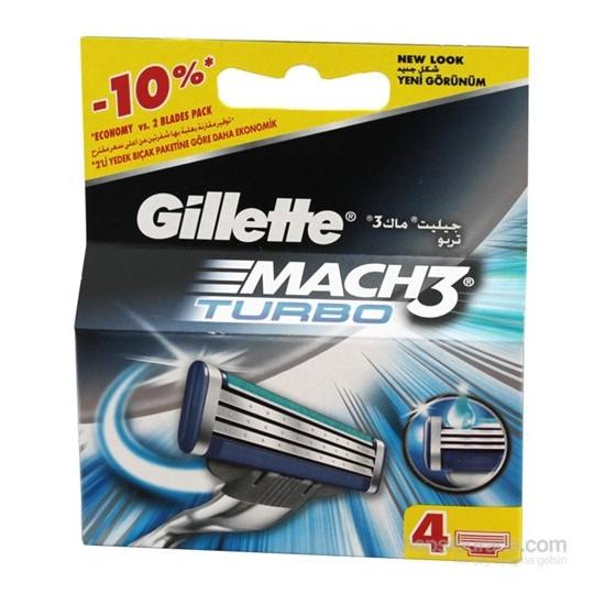 Gillette Tıraş Bıçağı Mach-3 Turbo 4'Lü Başlık Yeni Ambalaj