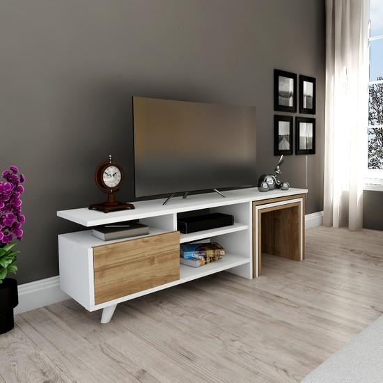 Hepsi Home Artemis Zigon Sehpalı Tv Ünitesi - Tv Sehpası Beyaz-Ceviz