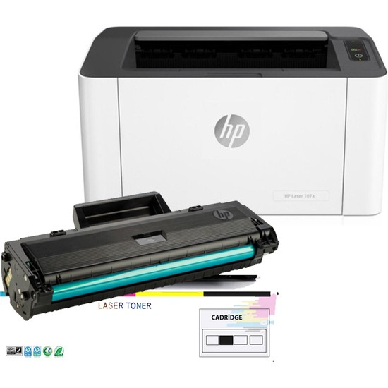 HP 4ZB78A LaserJet 107W Lazer Yazıcı Tam Dolu ikwell Tonerli 1000 Sayfa Kapasiteli