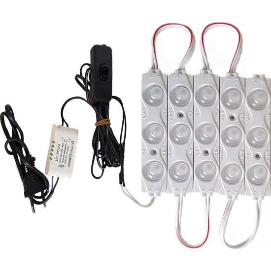 Inox Led Akvaryum Modül LED Aydınlatma Beyaz Işık Anahtarlı 5'li