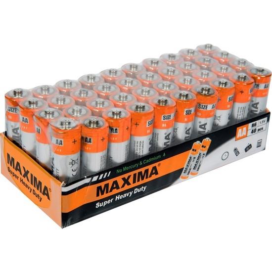 Maxima R6 1.5V AA Çinko Karbon (Super Heavy Duty) Kalem Pil 40'lı paket