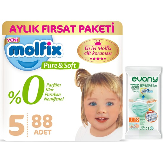Molfix Pure&soft 5 Beden Junior Aylık Fırsat Paketi 88'li + Evony Maske 10'lu