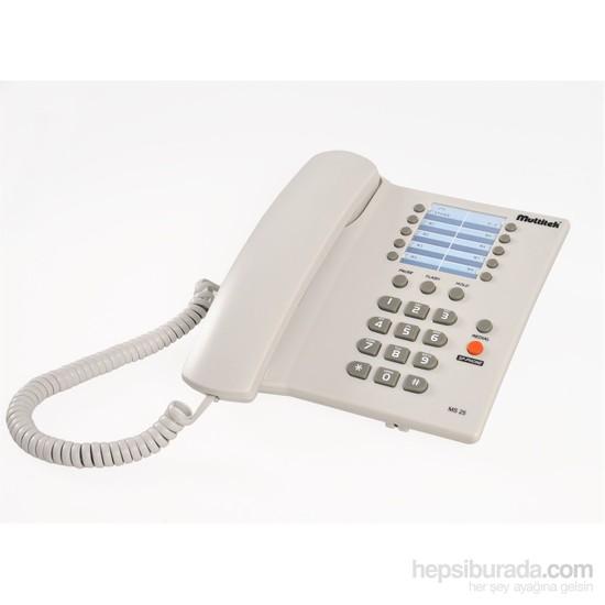 Multitek MS 25 Masa (8 Hafızalı) Masa Telefonu Beyaz