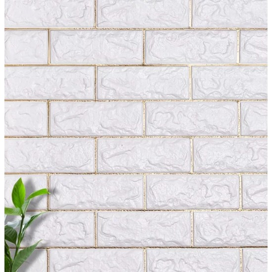 NW57 Beyaz Altın Gold Çizgili Tuğla Desen Kendinden Yapışkanlı Silinebilir Esnek Duvar Paneli