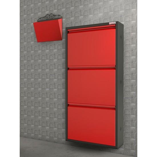 Pappuchbox Dz-1000 3'Lü Siyah-Kırmızı Takım Metal Ayakkabılık