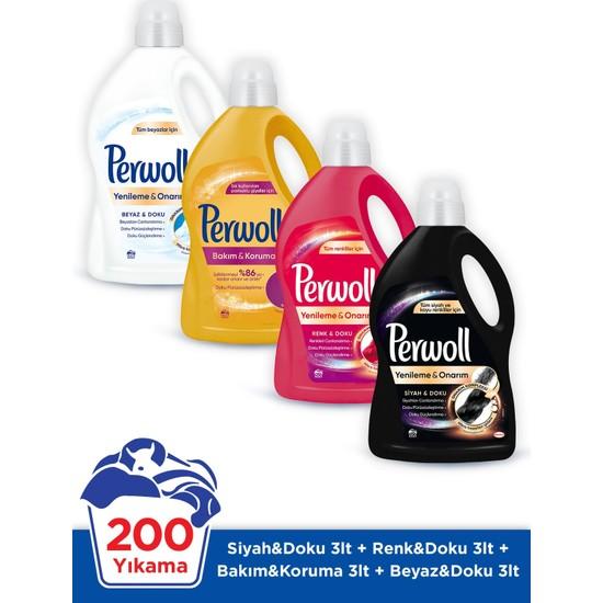 Perwoll Siyah Renkli Bakım Onarım Beyaz 3 Litre 4'lü Çamaşır Deterjanı Seti 200 Yıkama