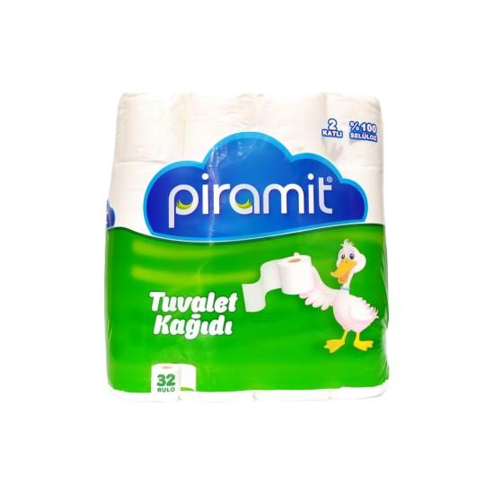Piramit Tuvalet Kağıdı 32 Rulo %100 Selüloz + Çöp Poşeti