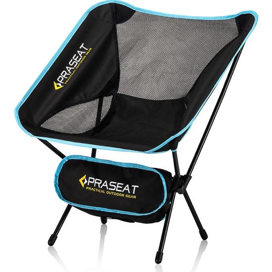 Praseat Kamp Sandalyesi Pratik Çantalı Plaj Sandalyesi Mavi