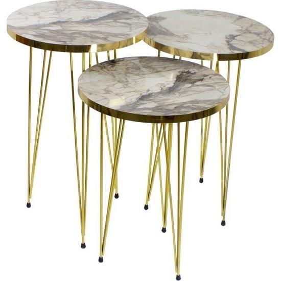 Pratico Gold Metal Ayak Beyaz Mermer Desen Zigon Sehpa