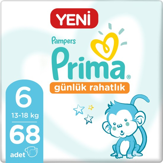 Prima Bebek Bezi Günlük Rahatlık 6 Beden 68 Adet Fırsat Paketi 17x4