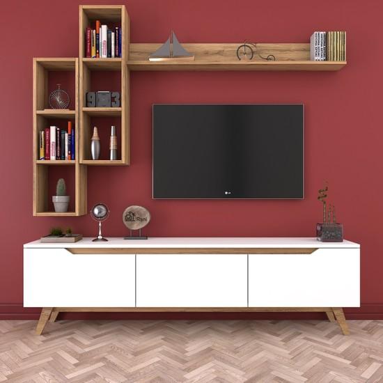 Rani D1 Duvar Raflı Kitaplıklı Tv Ünitesi Duvara Monte Dolaplı Ahşap Ayaklı Tv Sehpası Ceviz Beyaz M16