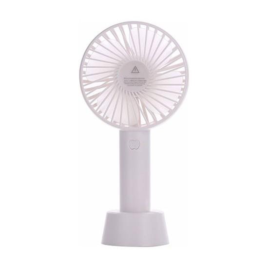 Şarjlı Fan Mini Taşınabilir El ve Masa Üstü 3 Kademeli Vantilatör Fan Beyaz Beyaz