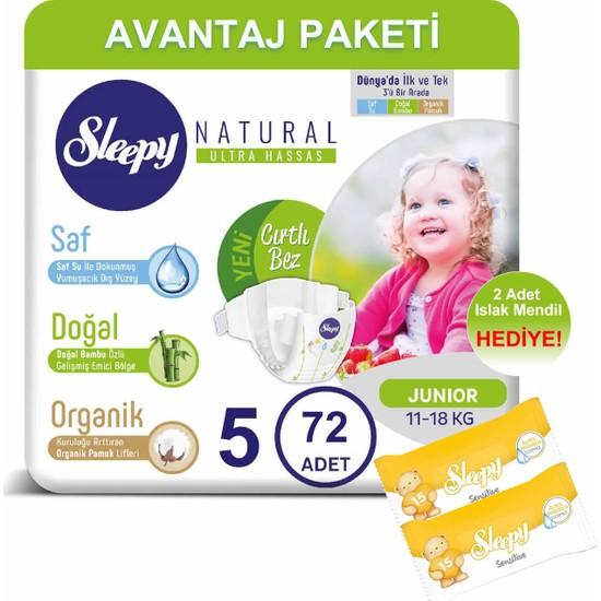 Sleepy Natural Bebek Bezi Avantaj Paketi 5 Numara 72'li 11-18 kg + Islak Mendil