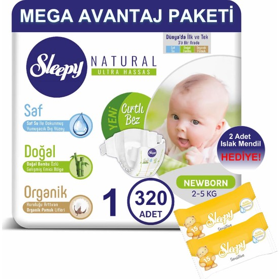 Sleepy Natural Bebek Bezi Mega Avantaj Paketi 1 Numara 320'LI 2 - 5 kg + Islak Mendil