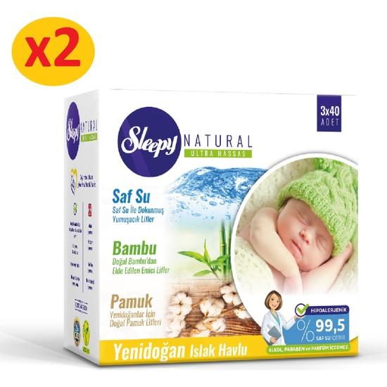 Sleepy Natural Yenidoğan Islak Pamuklu Bambu Havlu 2x(3x40) (240 Yaprak)
