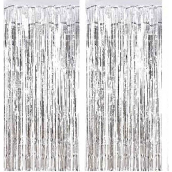 Tahtakale Toptancısı Metalize Arka Fon Süsü Asmalı Yerli 40 cm x 200 cm 2 li Set Gümüş