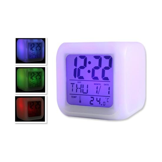 Wildlebend 7 Renk Değiştiren Alarmlı Dijital Küp Saat