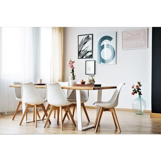 Woodesk Masif Ağaç Tik Renk 200x80x4 cm Yemek Masası