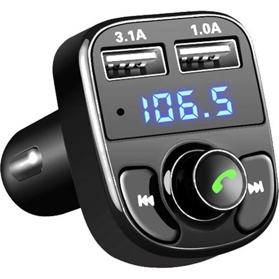 Zabata Araç Fm Transmitter Bluetooth USB Mp3 Sd Kart Çakmaklık Girişli Oto Müzik Çalar Kiti Kablosuz Car X8